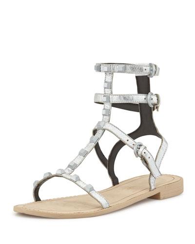 Georgina Studded Gladiator Sandal, Silver