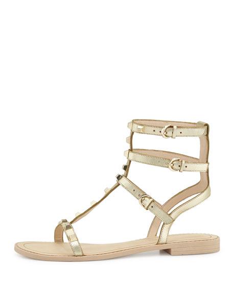 Georgina Studded Gladiator Sandal, Gold