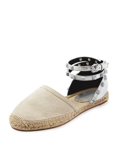 Gilles Studded Espadrille Flat, Stone/Silver