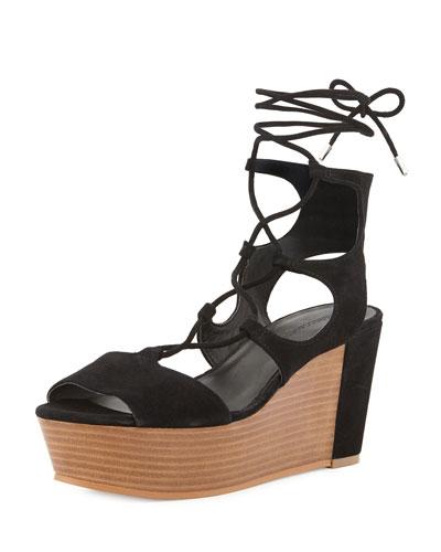 Cady Lace-Up Platform Wedge Sandal, Black