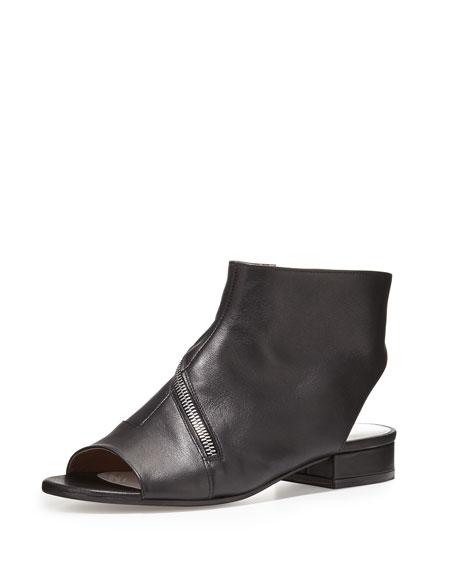 Maison Margiela Asymmetric-Zip Leather Flat Bootie, Black