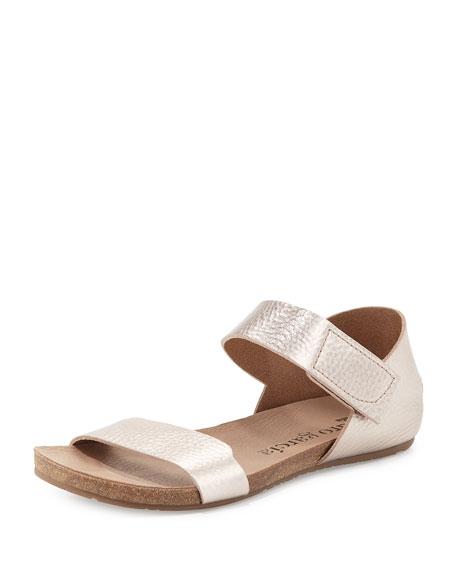 Pedro Garcia Juci Flat Metallic Leather Sandal, Sirocco