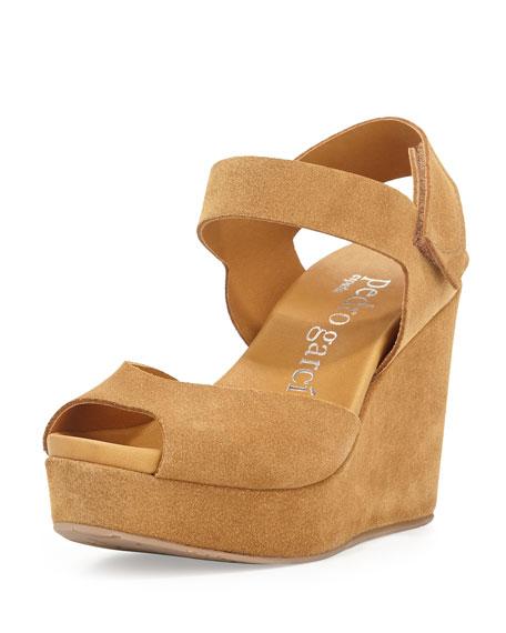 Pedro Garcia Molly Peep-Toe Wedge Sandal, Caramel