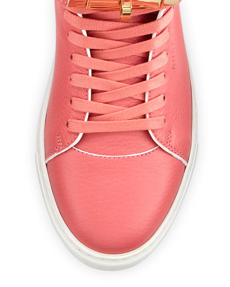 Women's 100mm Leather High-Top Sneaker w/ Rolled Strap, Coral