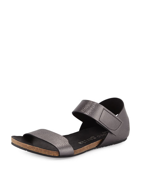 Pedro Garcia Juci Flat Metallic Leather Sandal, Anthracite