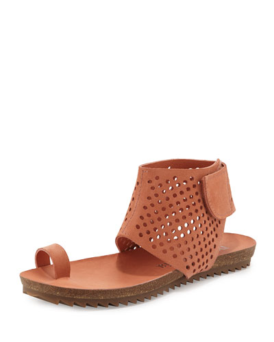 Venus Perforated Toe-Ring Sandal, Cameo