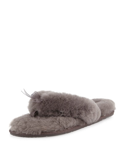 Fluff Fur Flip Flop Slipper, Gray