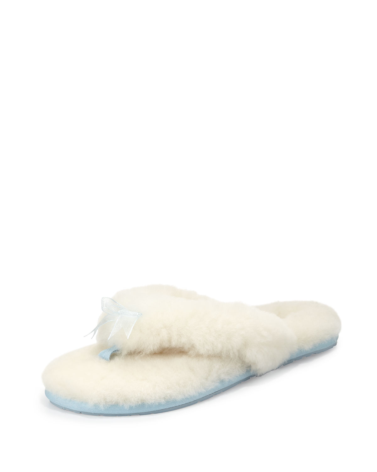 Fluff Flip Flop Bridal Slipper, White/Baby Blue