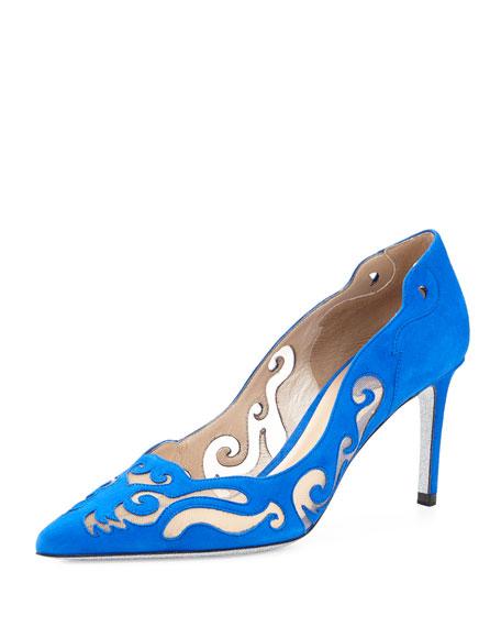 Rene Caovilla Laser-Cut Suede Illusion Pump, Blue