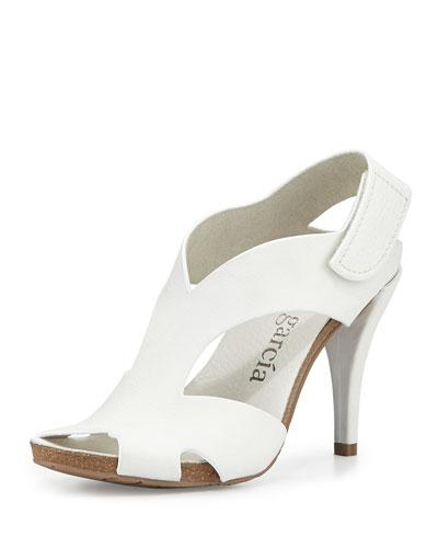 Yolanda Suede Mid-Heel Sandal, White