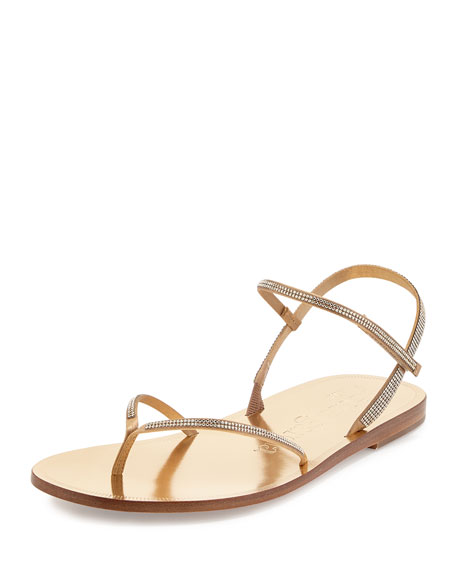Pedro Garcia Iciar Crystal Flat Thong Sandal, Gold