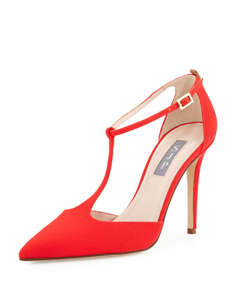 SJP by Sarah Jessica Parker Taylor Grosgrain T-Strap Pump, Poppy Arianna