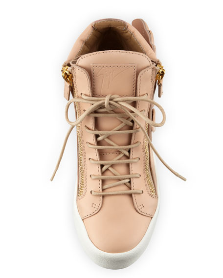 Wings Leather High-Top Sneaker, Shell