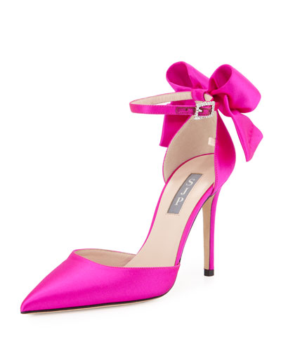 Trance Satin Bow Pump, Fuchsia