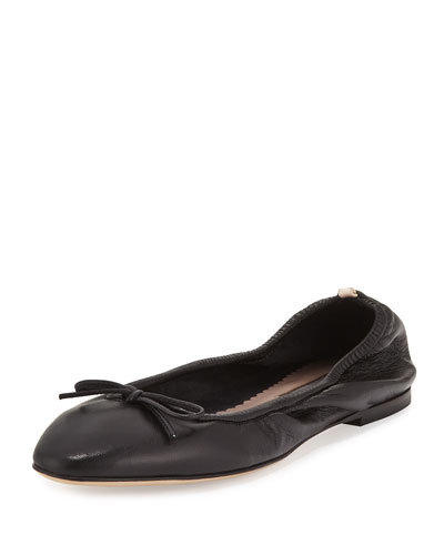 Gelsey Bow Leather Ballerina Flat, Black