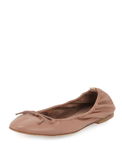 Gelsey Bow Leather Ballerina Flat, Nude