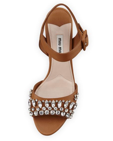 Miu Miu Embellished leather sandals 3YAG9