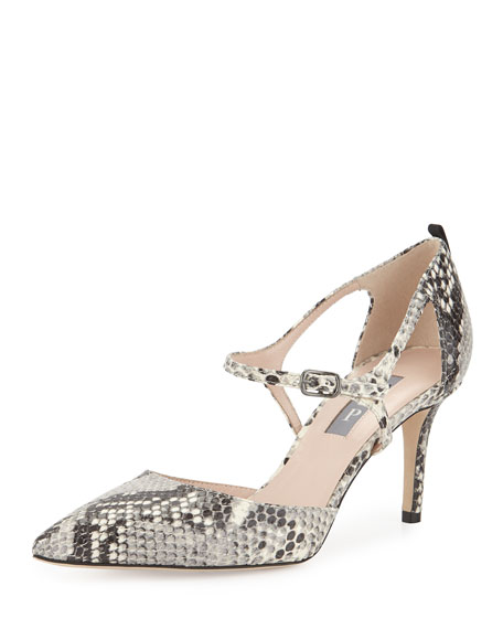 Phoebe Snake-Embossed Mary Jane Pump, Pewter