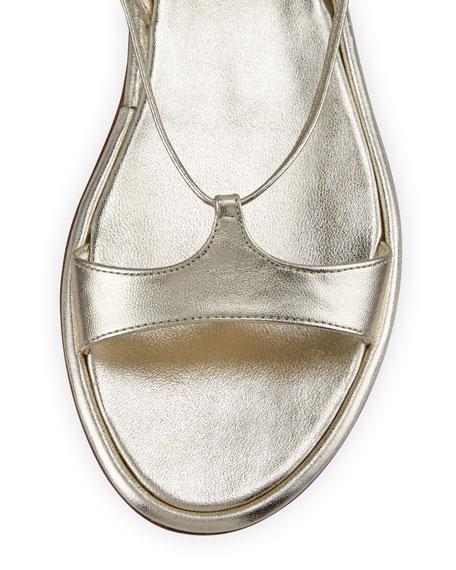 Metallic Strappy Gladiator Flat Sandal, Pirite