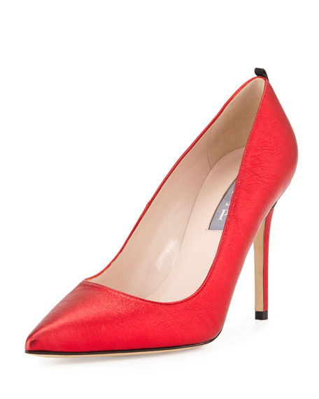 SJP by Sarah Jessica Parker Fawn Metallic Leather Pump, Red