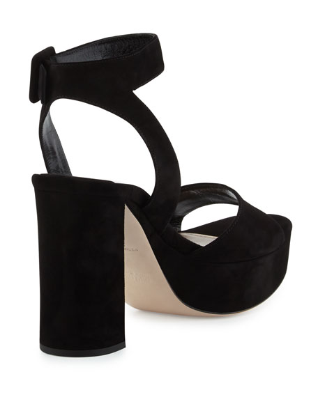 Suede Platform Ankle-Wrap Sandal, Nero