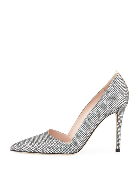 Rampling Glitter Pointed-Toe Pump, Silver