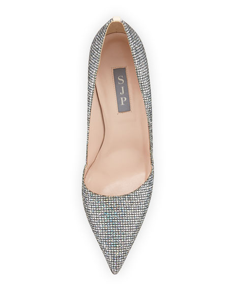 Image 3 of 3: Rampling Glitter Pointed-Toe Pump, Silver