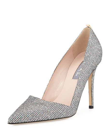 Image 1 of 3: Rampling Glitter Pointed-Toe Pump, Silver