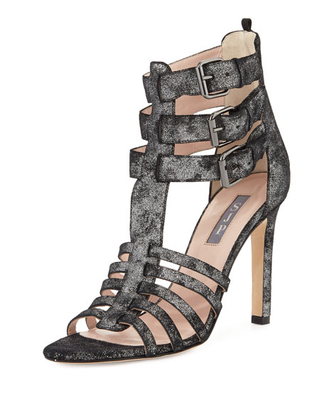 Lola Caged Suede Sandal, Anthracite