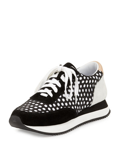 Rio Perforated Leather Sneaker, Black Mix