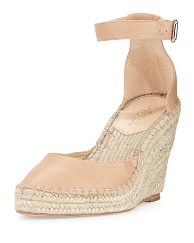 Milly Leather Espadrille Wedge Pump, Wheat/Silver