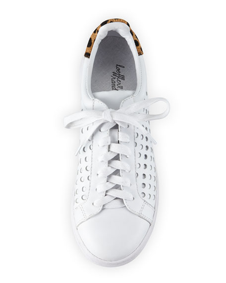 Zora Perforated Leather Sneaker, White/Cheetah