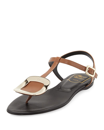 Chips T-Strap Leather Sandal, Cognac