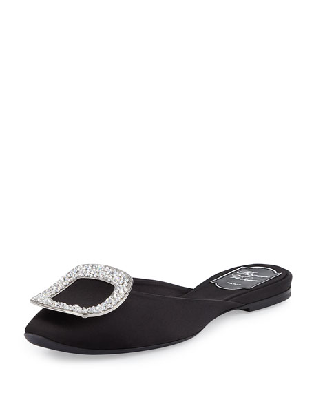 Ciabattina Strass-Buckle Slide Flat, Black