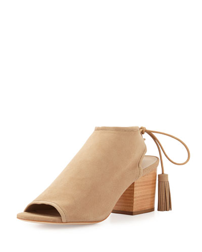 Lorelei Suede Open-Toe Ankle Boot, Wheat