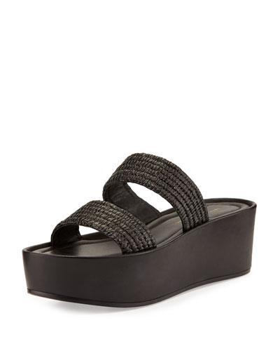 Luna Raffia Platform Sandal, Black