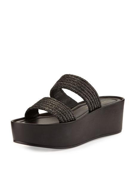 Loeffler Randall Luna Raffia Platform Sandal, Black