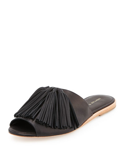 Kiki Tassel-Trim Leather Mule, Black