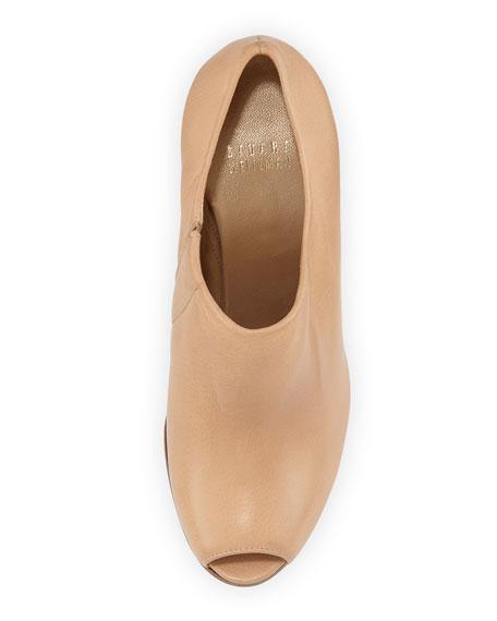 Altamira Leather Peep-Toe Bootie, Naked