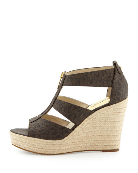 Damita Logo Zipper Wedge Sandal, Brown
