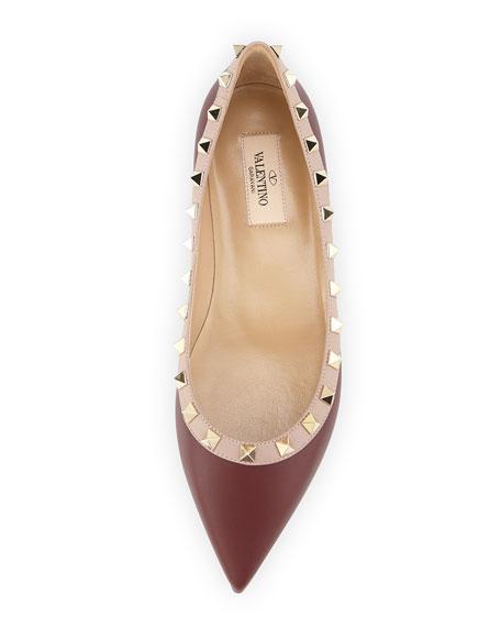Leather Rockstud Ballerina Flat, Crimson
