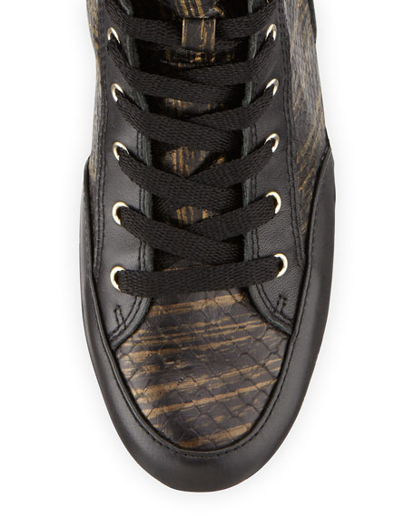 Smith Snake-Print High-Top Sneaker, Black