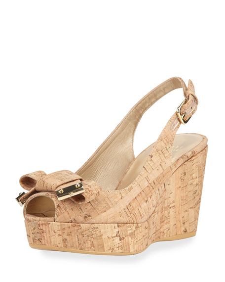 Stuart Weitzman Bodajean Cork Wedge Sandal, Natural