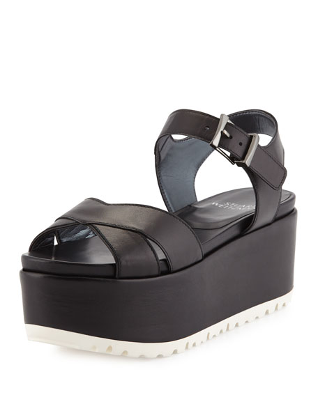 Stuart Weitzman Crosspath Platform Leather Sandal, Back