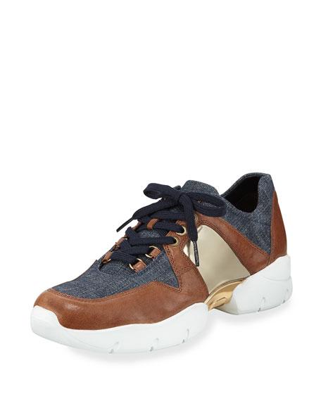 Stuart Weitzman Dreamy Denim Lace-Up Sneaker, Navy