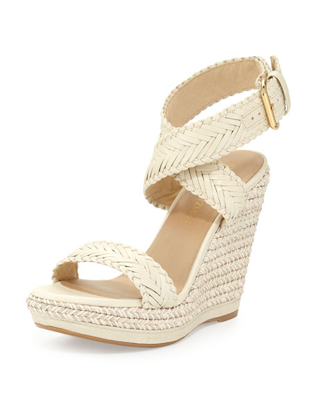 Stuart Weitzman Elixir Braided Leather Wedge Sandal, String