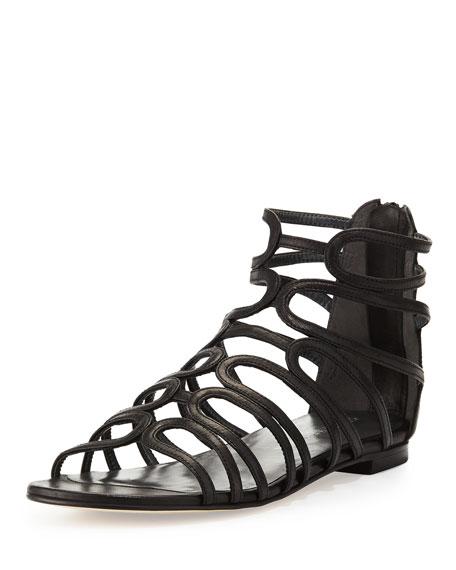 Stuart Weitzman Happyloops Leather Caged Sandal, Black
