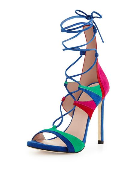Stuart Weitzman Legwrap Colorblock Suede Sandal, Bright