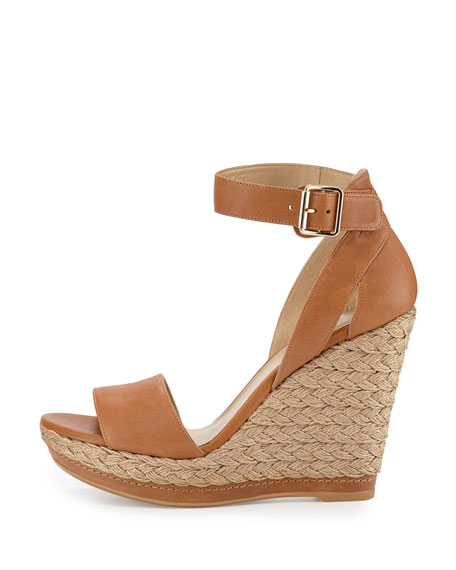 Mostly Platform Leather Wedge Espadrille Sandal, Camel