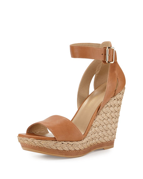 Stuart Weitzman Mostly Platform Leather Wedge Espadrille Sandal, Camel